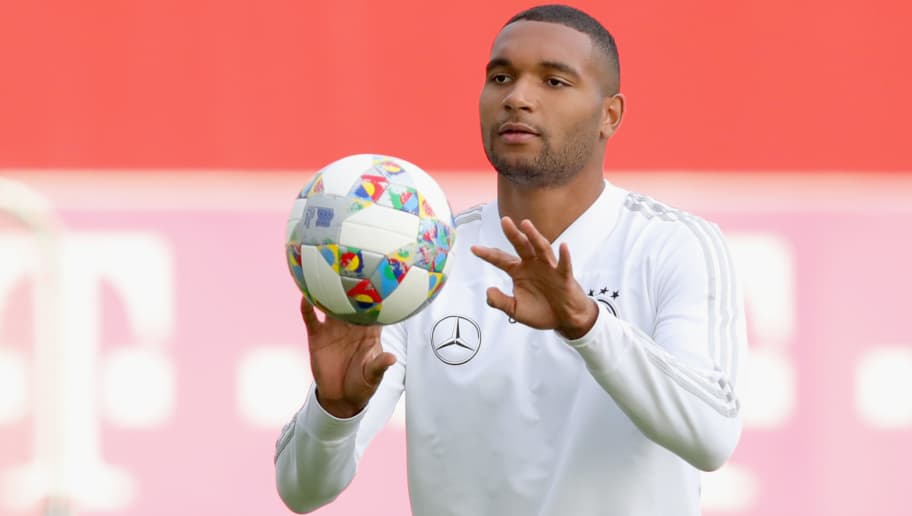 MUNICH, GERMANY - SEPTEMBER 04:  Jonathan Tah of Germany plays with the ball  during a team Germany training session at Bayern Muenchen Campus on September 4, 2018 in Munich, Germany.  (Photo by Alexander Hassenstein/Bongarts/Getty Images)