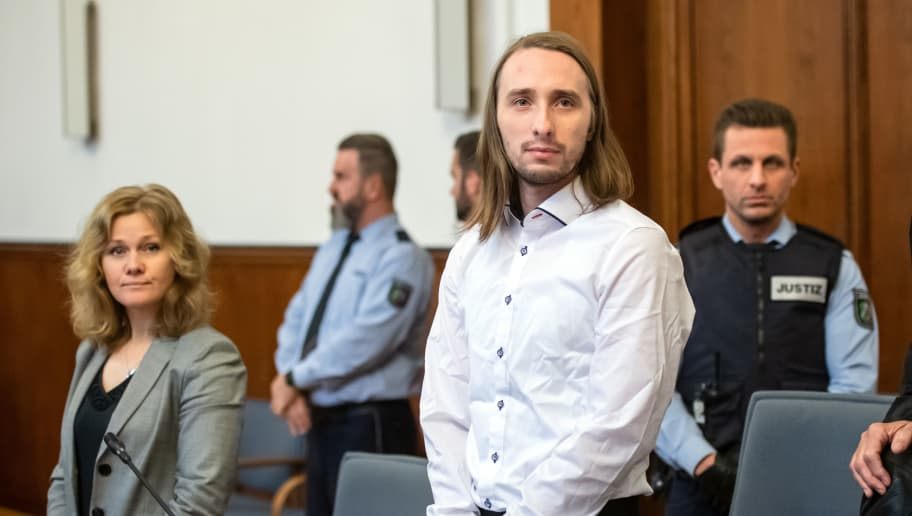 Defendant Sergej W waits for the continuation of his trial at court in Dortmund, western Germany, on November 22, 2018. - German prosecutors asked the court to sentence the Russian-born German citizen accused of an April 2017 bomb attack on Borussia Dortmund's team bus to life in prison. Defendant Sergej W committed almost 30 attempted murders by attacking the bus with three improvised bombs as it left the team's hotel, lead prosecutor Carsten Dombert said. (Photo by Bernd Thissen / dpa / AFP) / Germany OUT        (Photo credit should read BERND THISSEN/AFP/Getty Images)