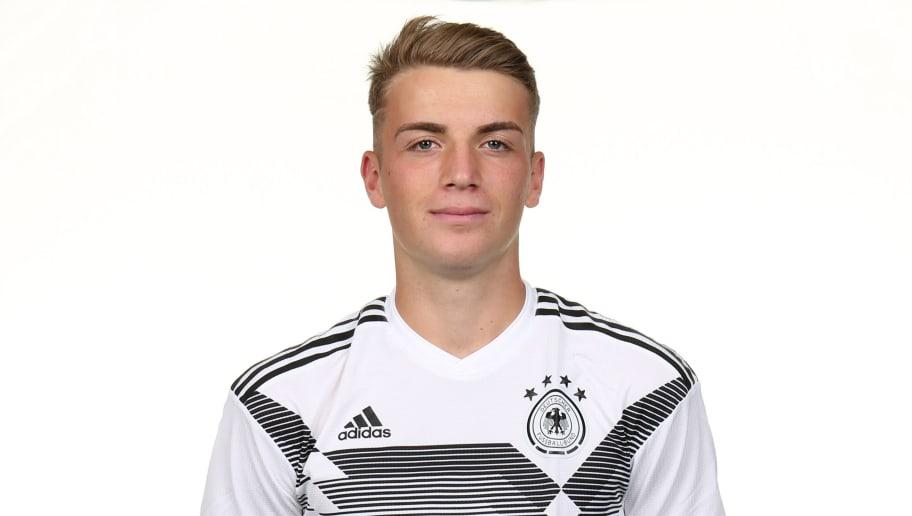 RAUNHEIM, GERMANY - SEPTEMBER 05: Jordan Louis Beyer poses during the U19 Germany Team Presentation on September 5, 2018 in Raunheim, Germany. (Photo by Andreas Schlichter/Bongarts/Getty Images)