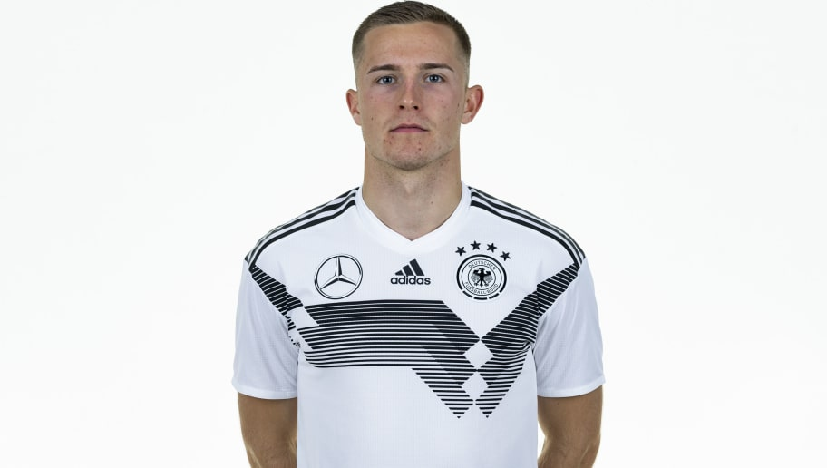 BAD GOEGGING, GERMANY - OCTOBER 09: Johannes Eggestein poses during the U21 team presentation on October 9, 2018 in Bad Goegging, Germany. (Photo by Alexander Scheuber/Bongarts/Getty Images)