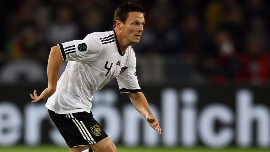 COLOGNE, GERMANY - SEPTEMBER 07: Sascha Riether of Germany runs with the ball  during the EURO 2012 Group A Qualifier match between Germany and Azerbaijan at RheinEnergie stadium on September 7, 2010 in Cologne, Germany. (Photo by Christof Koepsel/Bongarts/Getty Images)