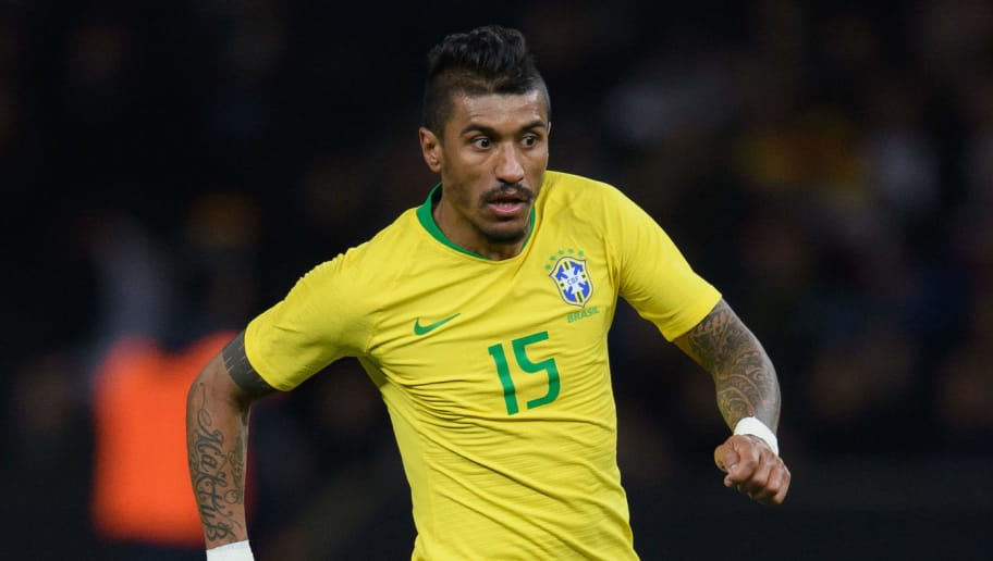 BERLIN, GERMANY - MARCH 27: Paulinho of Brazil controls the ball during the international friendly match between Germany and Brazil at Olympiastadion on March 27, 2018 in Berlin, Germany. (Photo by Matthias Hangst/Bongarts/Getty Images)