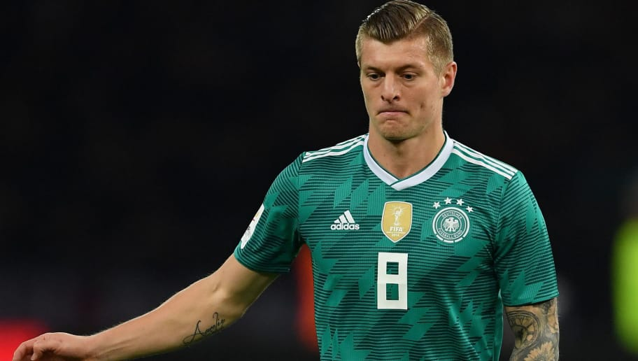 BERLIN, GERMANY - MARCH 27:  Toni Kroos of Germany in action during the international friendly match between Germany and Brazil at Olympiastadion on March 27, 2018 in Berlin, Germany.  (Photo by Stuart Franklin/Bongarts/Getty Images)