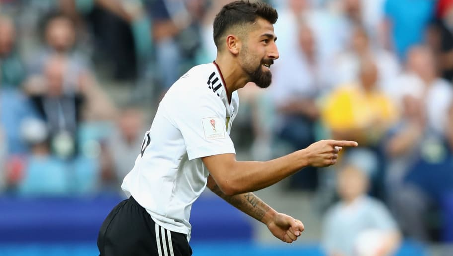 SOCHI, RUSSIA - JUNE 25:  Kerem Demirbay of Germany celebrates scoring his sides first goal during the FIFA Confederations Cup Russia 2017  Group B match between Germany and Cameroon at Fisht Olympic Stadium on June 25, 2017 in Sochi, Russia.  (Photo by Alexander Hassenstein/Bongarts/Getty Images)