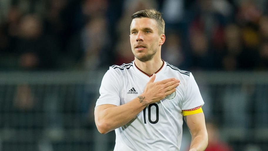 DORTMUND, GERMANY - MARCH 22: Lukas Podolski of Germany gestures during the international friendly match between Germany and England at Signal Iduna Park on March 22, 2017 in Dortmund, Germany. (Photo by TF-Images/Getty Images)
