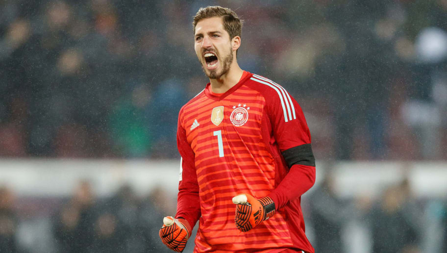 COLOGNE, GERMANY - NOVEMBER 14:  Goalkeeper Kevin Trapp of Germany celebrates during the international friendly match between Germany and France at RheinEnergieStadion on November 14, 2017 in Cologne, Germany.  (Photo by Lars Baron/Bongarts/Getty Images)