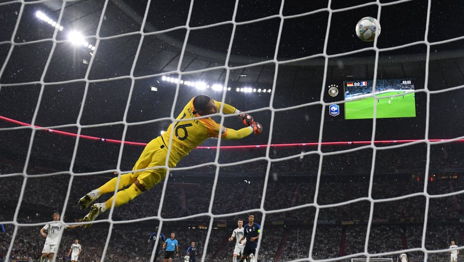 MUNICH, GERMANY - SEPTEMBER 06: Goalkeeper Alphonse Areola of France saves a ball during the UEFA Nations League group A match between Germany and France at Allianz Arena on September 06, 2018 in Munich, Germany. (Photo by Matthias Hangst/Bongarts/Getty Images)
