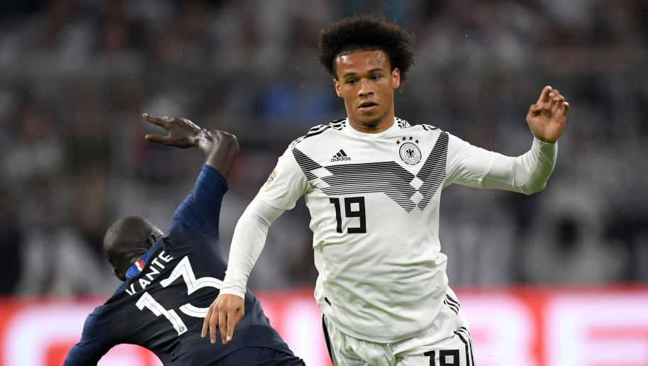 MUNICH, GERMANY - SEPTEMBER 06:  N'Golo Kante of France tackles Leroy Sane of Germany during the UEFA Nations League Group A match between Germany and France at Allianz Arena on September 6, 2018 in Munich, Germany.  (Photo by Matthias Hangst/Bongarts/Getty Images)
