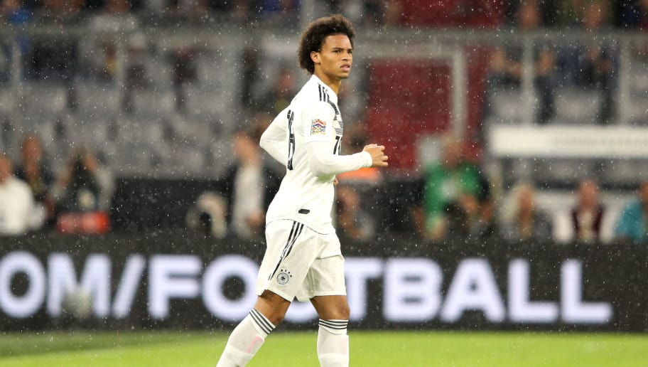 MUNICH, GERMANY - SEPTEMBER 06: Leroy Sane of Germany looks on during the UEFA Nations League Group A match between Germany and France at Allianz Arena on September 6, 2018 in Munich, Germany.  (Photo by Adam Pretty/Bongarts/Getty Images)