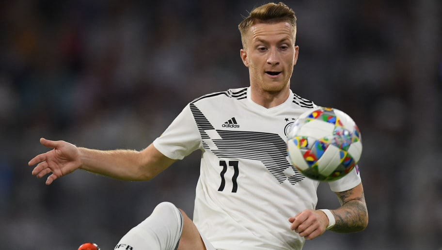 MUNICH, GERMANY - SEPTEMBER 06: Marco Reus of Germany controls the ball during the UEFA Nations League group A match between Germany and France at Allianz Arena on September 06, 2018 in Munich, Germany. (Photo by Matthias Hangst/Bongarts/Getty Images)
