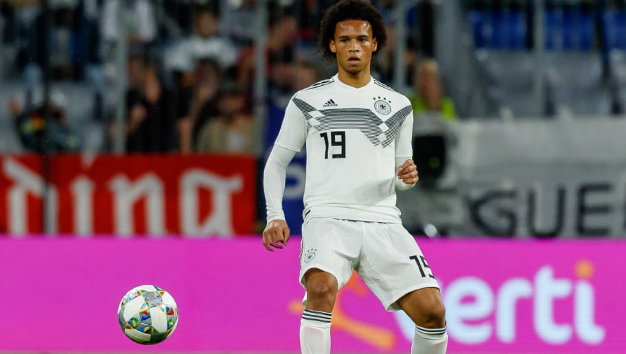 MUNICH, GERMANY - SEPTEMBER 06: Leroy Sane of Germany controls the ball during the UEFA Nations League group A match between Germany and France at Allianz Arena on September 6, 2018 in Munich, Germany. (Photo by TF-Images/Getty Images)
