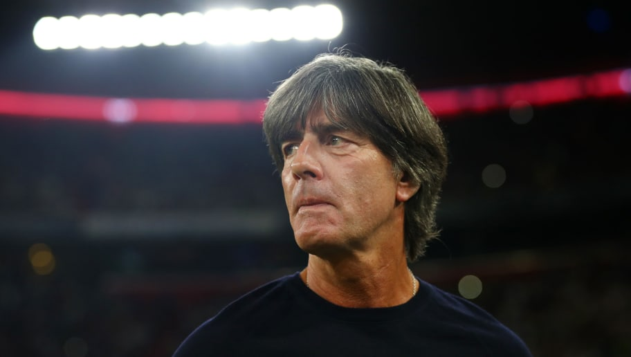 MUNICH, GERMANY - SEPTEMBER 06:  Joachim Low, Manager of Germany looks on prior to the UEFA Nations League Group A match between Germany and France at Allianz Arena on September 6, 2018 in Munich, Germany.  (Photo by Lars Baron/Bongarts/Getty Images)