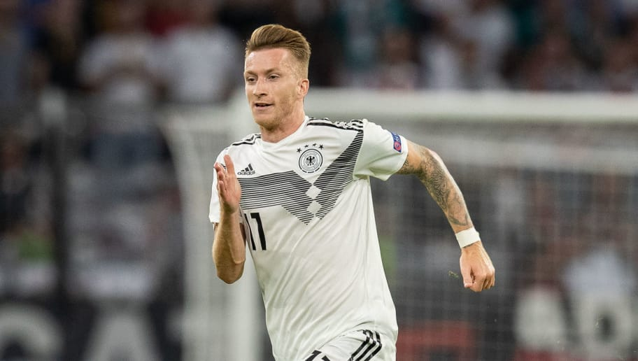 MUNICH, GERMANY - SEPTEMBER 06: Marco Reus of Germany runs with the ball during the UEFA Nations League group A match between Germany and France at Allianz Arena on September 6, 2018 in Munich, Germany. (Photo by Boris Streubel/Getty Images)