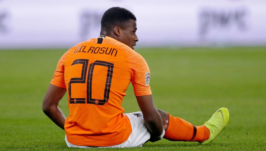 GELSENKIRCHEN, GERMANY - NOVEMBER 19: Javairo Dilrosun of Holland  during the  UEFA Nations league match between Germany  v Holland  at the Veltins Arena on November 19, 2018 in Gelsenkirchen Germany (Photo by Laurens Lindhout/Soccrates/Getty Images)