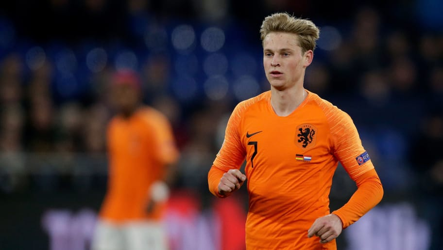 GELSENKIRCHEN, GERMANY - NOVEMBER 19: Frenkie de Jong of Holland during the  UEFA Nations league match between Germany  v Holland  at the Veltins Arena on November 19, 2018 in Gelsenkirchen Germany (Photo by Laurens Lindhout/Soccrates /Getty Images)