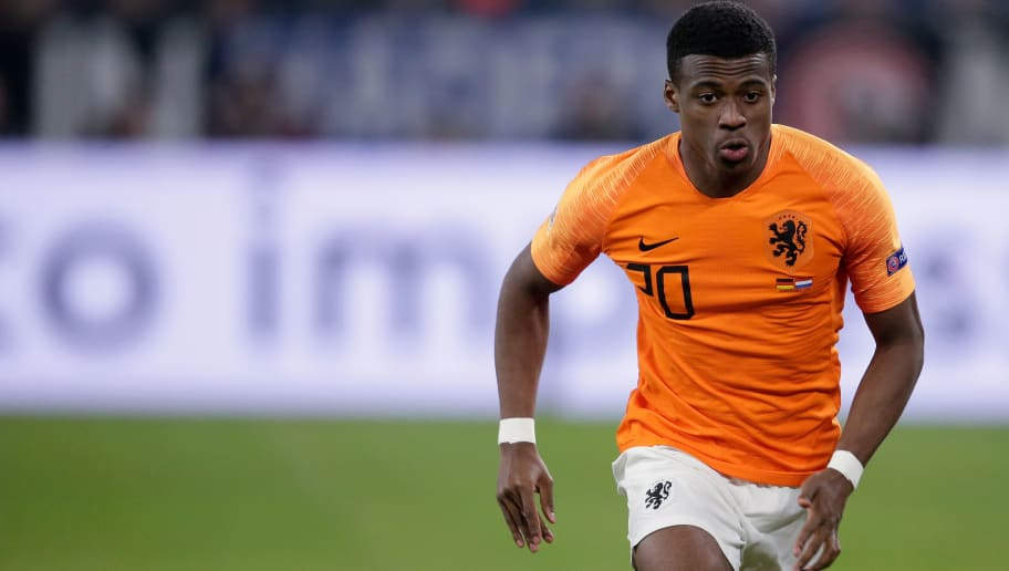 GELSENKIRCHEN, GERMANY - NOVEMBER 19: Javairo Dilrosun of Holland during the  UEFA Nations league match between Germany  v Holland  at the Veltins Arena on November 19, 2018 in Gelsenkirchen Germany (Photo by Laurens Lindhout/Soccrates /Getty Images)
