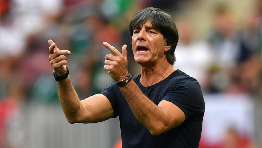 MOSCOW, RUSSIA - JUNE 17:  Joachim Loew, Manager of Germany gives his team instructions during the 2018 FIFA World Cup Russia group F match between Germany and Mexico at Luzhniki Stadium on June 17, 2018 in Moscow, Russia.  (Photo by Dan Mullan/Getty Images)