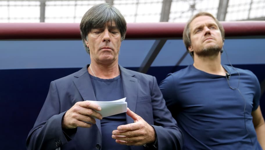 MOSCOW, RUSSIA - JUNE 17:  Joachim Loew, head coach of Germany looks on prior to the 2018 FIFA World Cup Russia group F match between Germany and Mexico at Luzhniki Stadium on June 17, 2018 in Moscow, Russia.  (Photo by Alexander Hassenstein/Getty Images)