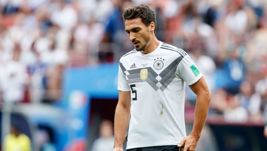 MOSCOW, RUSSIA - JUNE 17: Mats Hummels of Germany looks on during the 2018 FIFA World Cup Russia group F match between Germany and Mexico at Luzhniki Stadium on June 17, 2018 in Moscow, Russia. (Photo by TF-Images/Getty Images)