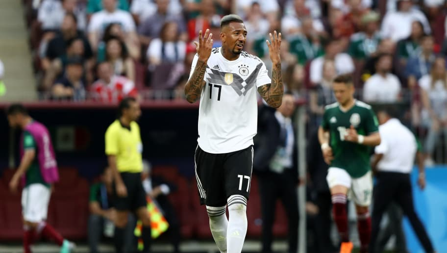 MOSCOW, RUSSIA - JUNE 17:  Jerome Boateng reacts during the 2018 FIFA World Cup Russia group F match between Germany and Mexico at Luzhniki Stadium on June 17, 2018 in Moscow, Russia.  (Photo by Ryan Pierse/Getty Images)