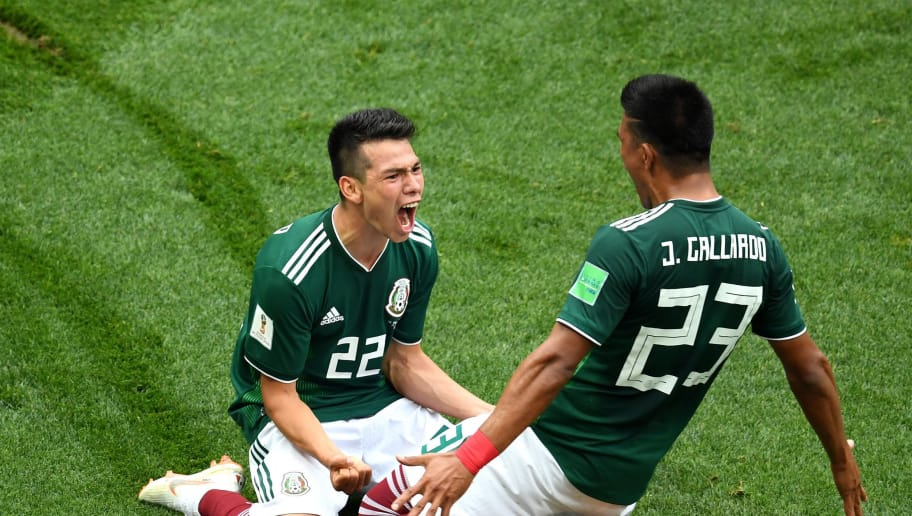 MOSCOW, RUSSIA - JUNE 17:  Hirving Lozano of Mexico celebrates with Jesus Gallardo by sliding on their knees after scoring his team's first goal during the 2018 FIFA World Cup Russia group F match between Germany and Mexico at Luzhniki Stadium on June 17, 2018 in Moscow, Russia.  (Photo by Matthias Hangst/Getty Images)