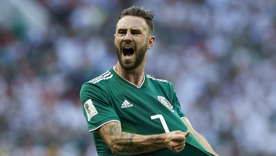 MOSCOW, RUSSIA - JUNE 17:  Miguel Layun of Mexico reacts during the 2018 FIFA World Cup Russia group F match between Germany and Mexico at Luzhniki Stadium on June 17, 2018 in Moscow, Russia.  (Photo by Quality Sport Images/Getty Images)