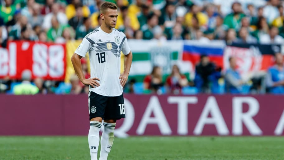 MOSCOW, RUSSIA - JUNE 17: Joshua Kimmich of Germany looks on during the 2018 FIFA World Cup Russia group F match between Germany and Mexico at Luzhniki Stadium on June 17, 2018 in Moscow, Russia. (Photo by TF-Images/Getty Images)