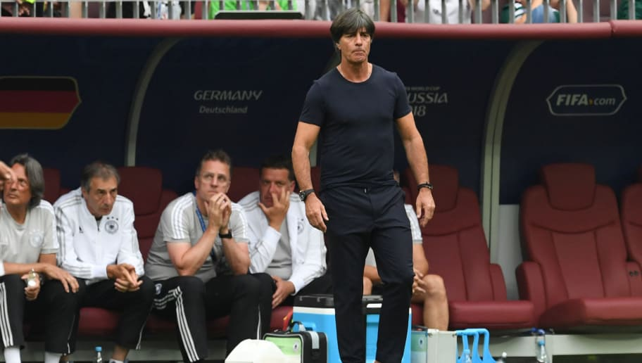 MOSCOW, RUSSIA - JUNE 17: Germany head coach Joachim Loew looks on during the 2018 FIFA World Cup Russia group F match between Germany and Mexico at Luzhniki Stadium on June 17, 2018 in Moscow, Russia. (Photo by Etsuo Hara/Getty Images)
