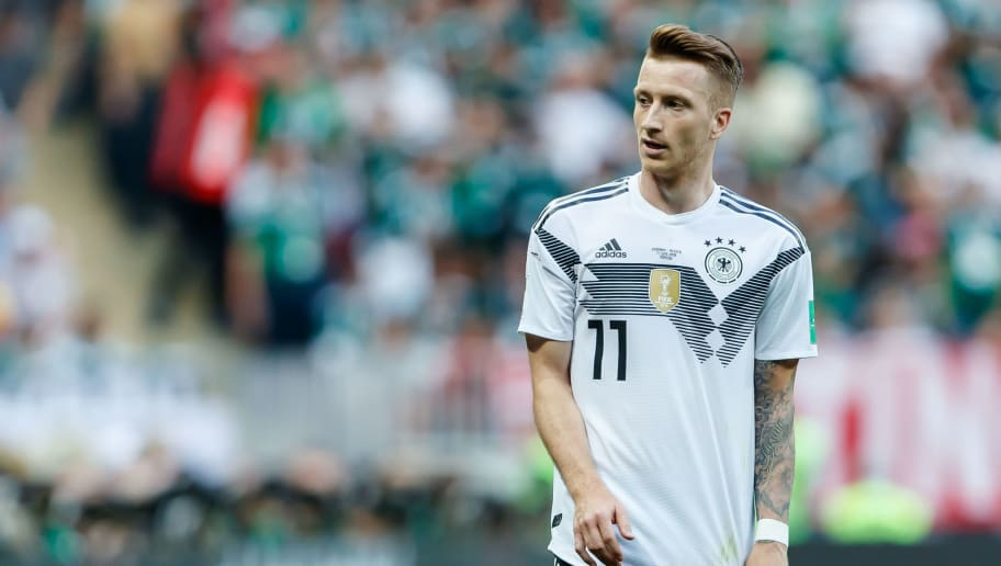 MOSCOW, RUSSIA - JUNE 17: Marco Reus of Germany looks on during the 2018 FIFA World Cup Russia group F match between Germany and Mexico at Luzhniki Stadium on June 17, 2018 in Moscow, Russia. (Photo by TF-Images/Getty Images)