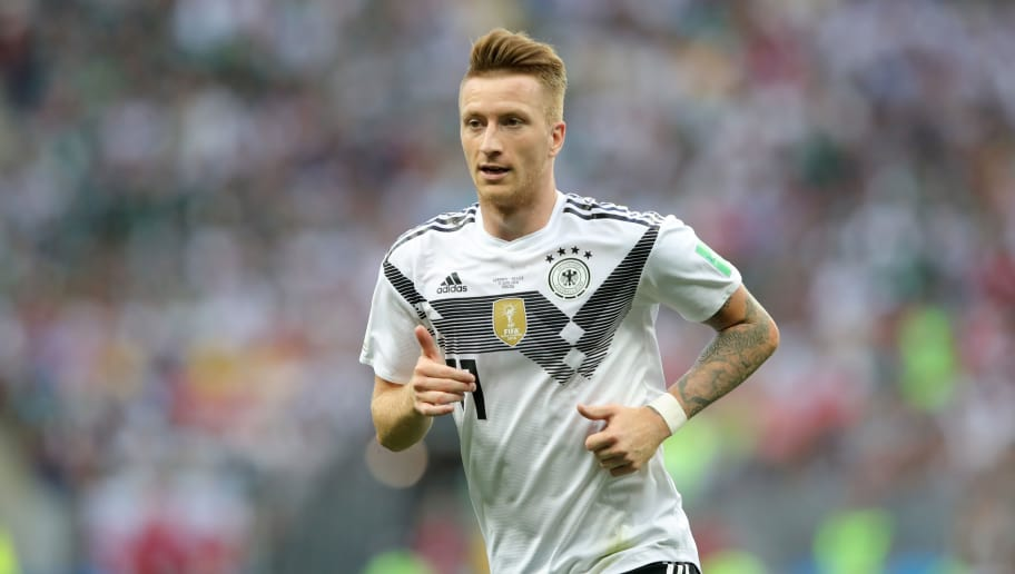 MOSCOW, RUSSIA - JUNE 17:  Marco Reus of Germany looks on during the 2018 FIFA World Cup Russia group F match between Germany and Mexico at Luzhniki Stadium on June 17, 2018 in Moscow, Russia.  (Photo by Alexander Hassenstein/Getty Images)