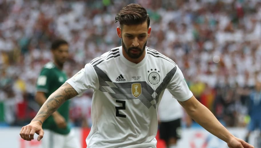 MOSCOW, RUSSIA - JUNE 17: Marvin Plattenhardt of Germany is seen during the 2018 FIFA World Cup Russia group F match between Germany and Mexico at Luzhniki Stadium on June 17, 2018 in Moscow, Russia. (Photo by Ian MacNicol/Getty Images)
