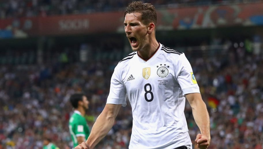 SOCHI, RUSSIA - JUNE 29:  Leon Goretzka of Germany celebrates scoring his side's second goal during the FIFA Confederations Cup Russia 2017 Semi-Final between Germany and Mexico at Fisht Olympic Stadium on June 29, 2017 in Sochi, Russia.  (Photo by Buda Mendes/Getty Images)