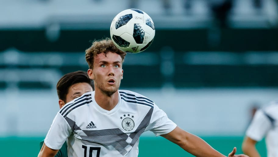 FUERTH, GERMANY - SEPTEMBER 07: Luca Waldschmidt of Germany  controls the ball  during the U21 International friendly match between Germany and Mexico at Sportpark Ronhof on September 7, 2018 in Fuerth, Germany. (Photo by TF-Images/Getty Images)