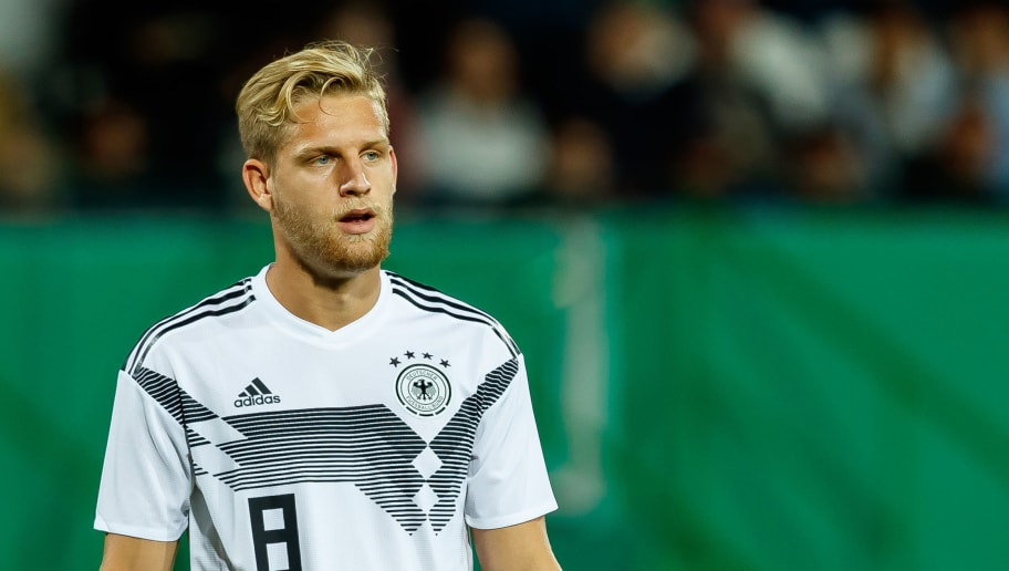 FUERTH, GERMANY - SEPTEMBER 07: Arne Maier of Germany  looks on  during the U21 International friendly match between Germany and Mexico at Sportpark Ronhof on September 7, 2018 in Fuerth, Germany. (Photo by TF-Images/Getty Images)