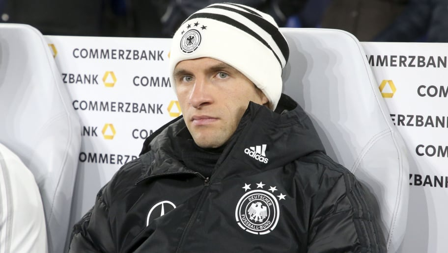 GELSENKIRCHEN, GERMANY - NOVEMBER 19: Thomas Muller of Germany on the bench during the UEFA Nations League A group one match between Germany and Netherlands at Veltins-Arena on November 19, 2018 in Gelsenkirchen, Germany. (Photo by Jean Catuffe/Getty Images)