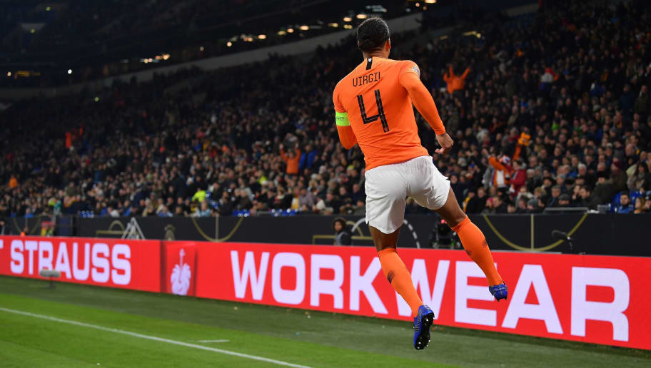 GELSENKIRCHEN, GERMANY - NOVEMBER 19:  Virgil van Dijk of The Netherlands celebrates scoring his team's second goal during the UEFA Nations League A group one match between Germany and Netherlands at Veltins-Arena on November 19, 2018 in Gelsenkirchen, Germany.  (Photo by Stuart Franklin/Bongarts/Getty Images)