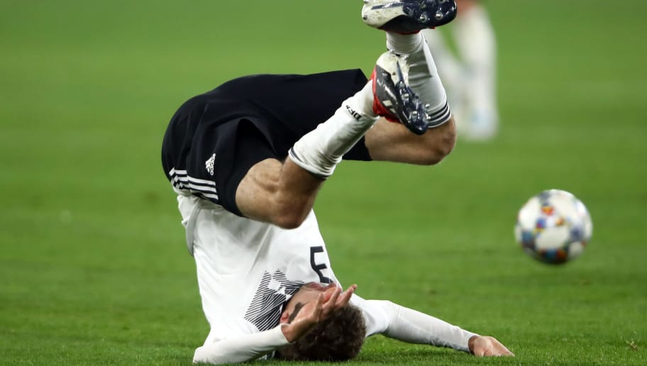 GELSENKIRCHEN, GERMANY - NOVEMBER 19: Thomas Mueller of Germany reacts during the UEFA Nations League A group one match between Germany and Netherlands at Veltins-Arena on November 19, 2018 in Gelsenkirchen, Germany. (Photo by Alex Grimm/Bongarts/Getty Images,)