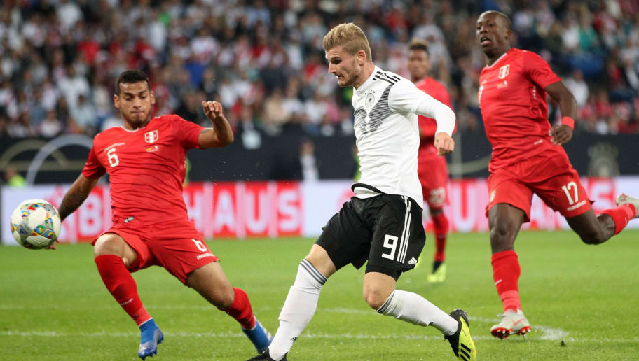 SINSHEIM, GERMANY - SEPTEMBER 09:  Timo Werner of Germany shoots and misses during the International Friendly match between Germany and Peru at Rhein-Neckar-Arena on September 9, 2018 in Sinsheim, Germany.  (Photo by Adam Pretty/Bongarts/Getty Images)