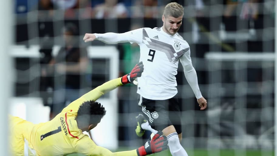 SINSHEIM, GERMANY - SEPTEMBER 09:  Timo Werner of Germany tries to score against goalkeeper Pedro Gallese of Peru during the International Friendly match between Germany and Peru at Wirsol Rhein-Neckar-Arena on September 9, 2018 in Sinsheim, Germany.  (Photo by Alex Grimm/Bongarts/Getty Images)
