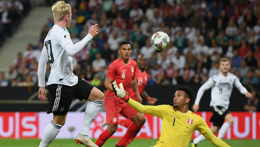 SINSHEIM, GERMANY - SEPTEMBER 09: Julian Brandt of Germany scores his team's first goal during the International Friendly match between Germany and Peru on September 9, 2018 in Sinsheim, Germany. (Photo by Matthias Hangst/Bongarts/Getty Images)