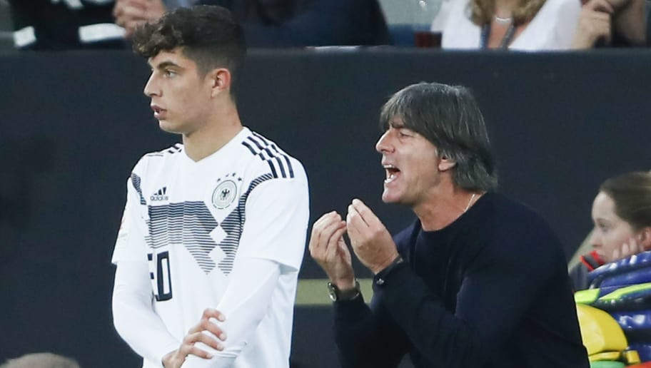 SINSHEIM, GERMANY - SEPTEMBER 09: Head coach Joachim Loew of Germany reacts as he stands at the sideline next to Kai Havertz during the International Friendly match between Germany and Peru at Wirsol Rhein-Neckar-Arena on September 9, 2018 in Sinsheim, Germany.  (Photo by Alex Grimm/Bongarts/Getty Images)