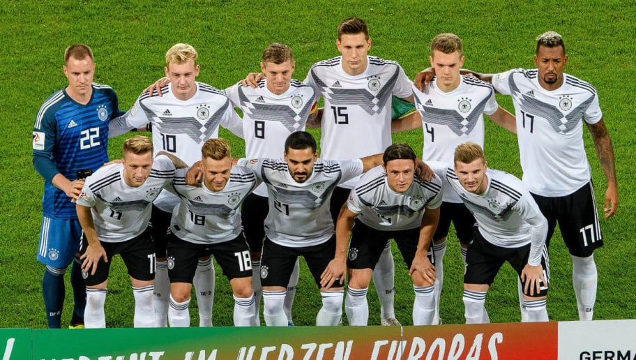 SINSHEIM, GERMANY - SEPTEMBER 09: (2nd Row L-R) Marc-Andre Ter Stegen, Julian Brandt, Toni Kroos, Niklas Suele, Matthias Ginter, Jerome Boateng (Front Row L-R) Marco Reus, Joshua Kimmich, Ilkay Guendogan, Nico Schulz and Timo Werner line up during the International Friendly match between Germany and Peru on September 9, 2018 in Sinsheim, Germany. (Photo by Alexander Scheuber/Bongarts/Getty Images)