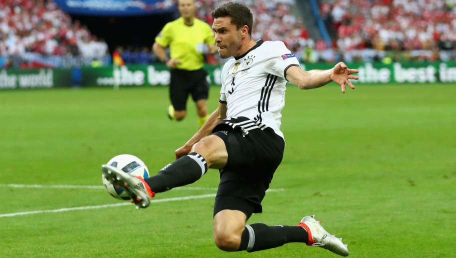PARIS, FRANCE - JUNE 16:  Jonas Hector of Germany runs with the ball during the UEFA EURO 2016 Group C match between Germany and Poland at Stade de France on June 16, 2016 in Paris, France.  (Photo by Alexander Hassenstein/Getty Images)