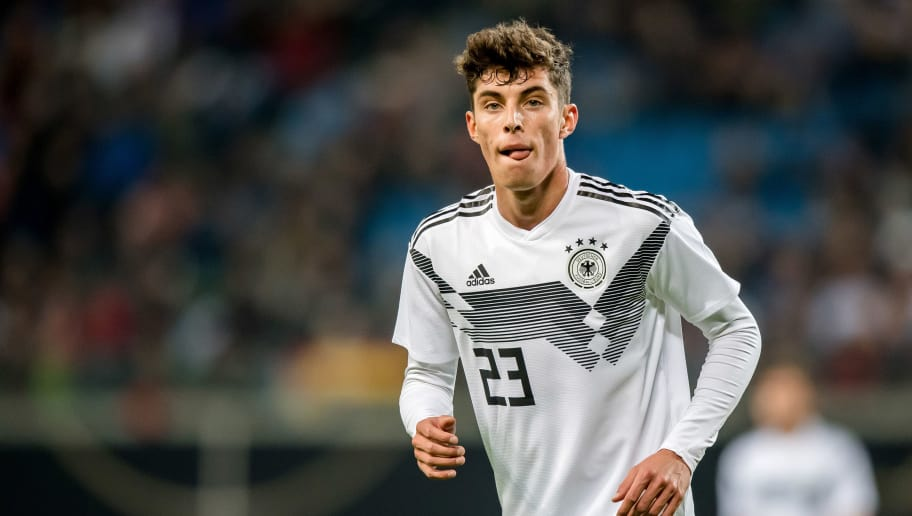 LEIPZIG, GERMANY - NOVEMBER 15: Kai Havertz of Germany looks on during the international friendly match between Germany and Russia at Red Bull Arena on November 15, 2018 in Leipzig, Germany. (Photo by Thomas Eisenhuth/Bongarts/Getty Images)