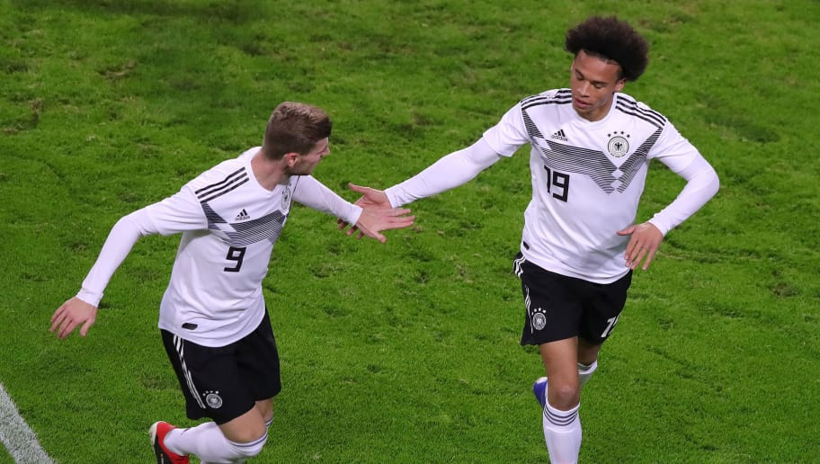 LEIPZIG, GERMANY - NOVEMBER 15: Leroy Sane of Germany celebrates with teammate Timo Werner of Germany after scoring his team's first goal  during the International Friendly match between Germany and Russia at Red Bull Arena on November 15, 2018 in Leipzig, Germany. (Photo by Alexander Hassenstein/Bongarts/Getty Images)