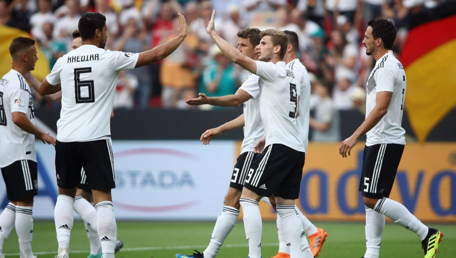 LEVERKUSEN, GERMANY - JUNE 08:  Timo Werner #9 of Germany celebrates his team's first goal with team mates during the international friendly match between Germany and Saudi Arabia ahead of the FIFA World Cup Russia 2018 at BayArena on June 8, 2018 in Leverkusen, Germany.  (Photo by Alex Grimm/Bongarts/Getty Images)