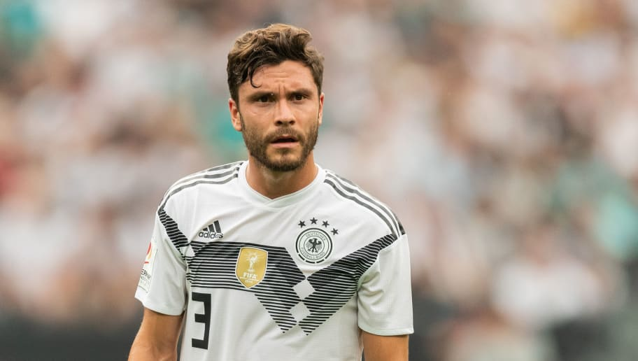 LEVERKUSEN, GERMANY - JUNE 08: Jonas Hector of Germany reacts during the International Friendly football match between Germany and Saudi Arabia at BayArena on June 8, 2018 in Leverkusen, Germany. (Photo by Boris Streubel/Getty Images)