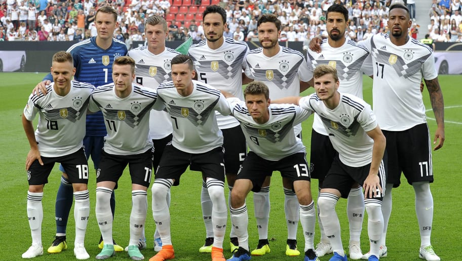 LEVERKUSEN, GERMANY - JUNE 08: Joshua Kimmich of Germany, Marco Reus of Germany, Julian Draxler of Germany, Thomas Mueller of Germany, Timo Werner of Germany, Goalkeeper Manuel Neuer of Germany, Toni Kroos of Germany, Mats Hummels of Germany, Jonas Hector of Germany, Sami Khedira of Germany and Jerome Boateng of Germany pose for a photo prior to the international friendly match between Germany and Saudi Arabia at BayArena on June 8, 2018 in Leverkusen, Germany. (Photo by TF-Images/Getty Images)