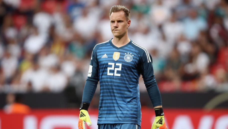 LEVERKUSEN, GERMANY - JUNE 08:  Marc-Andre ter Stegen of Germany reacts during the international friendly match between Germany and Saudi Arabia ahead of the FIFA World Cup Russia 2018 at BayArena on June 8, 2018 in Leverkusen, Germany.  (Photo by Alex Grimm/Bongarts/Getty Images)