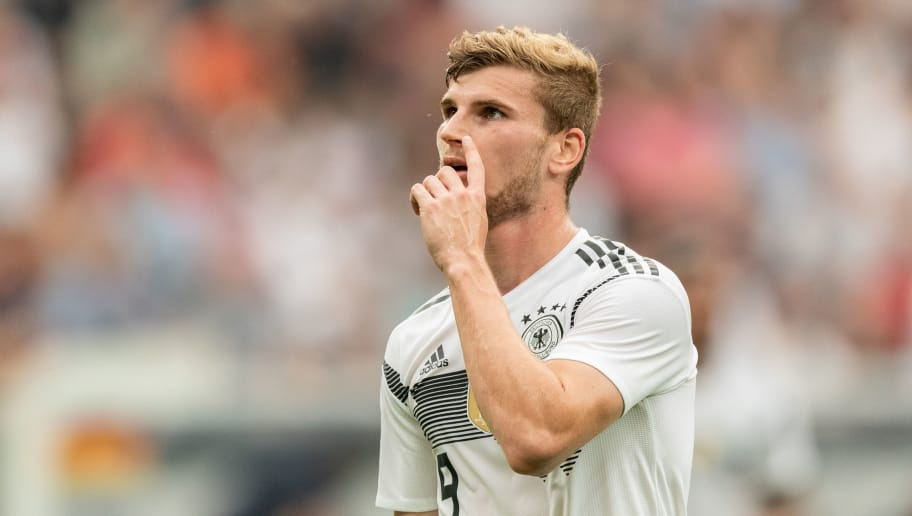 LEVERKUSEN, GERMANY - JUNE 08: Timo Werner of Germany reacts during the International Friendly football match between Germany and Saudi Arabia at BayArena on June 8, 2018 in Leverkusen, Germany. (Photo by Boris Streubel/Getty Images)